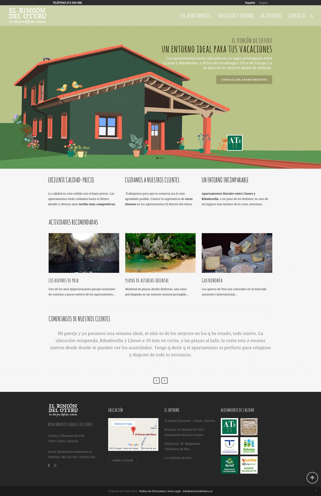 Diseño web El Rincón del Oteru