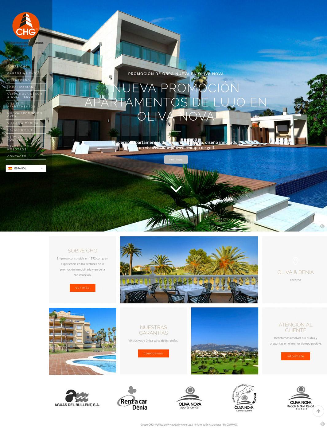Web CHG, promotora inmobiliaria en Oliva y Denia.